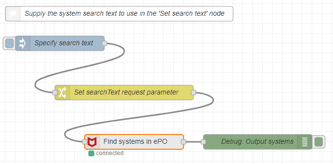 Node-RED Flow: Find System in ePO via DXL - OpenDXL